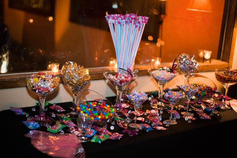 Awesome candy bar at the wedding reception.